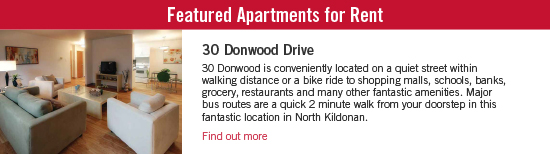 Featured Apartment for Rent - 30 Donwood Drive. Donwood is conveniently located on a quiet street within walking distance or a bike ride to shopping malls, schools, banks, grocery, restaurants and many other fantastic amenities. Major bus routes are a quick 2 minute walk from your doorstep in this fantastic location in North Kildonan