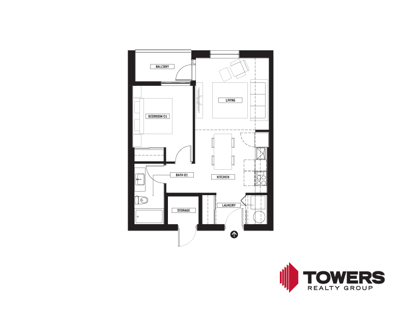 Towers Realty Group - Spot on Pembina floor plan - 02151102 - 1 bed type 2