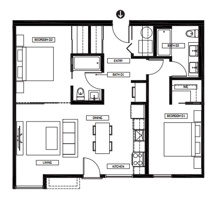 Apartments For Rent Winnipeg - The Spot Apartment 2 Bedroom Floor Plan - Towers Realty